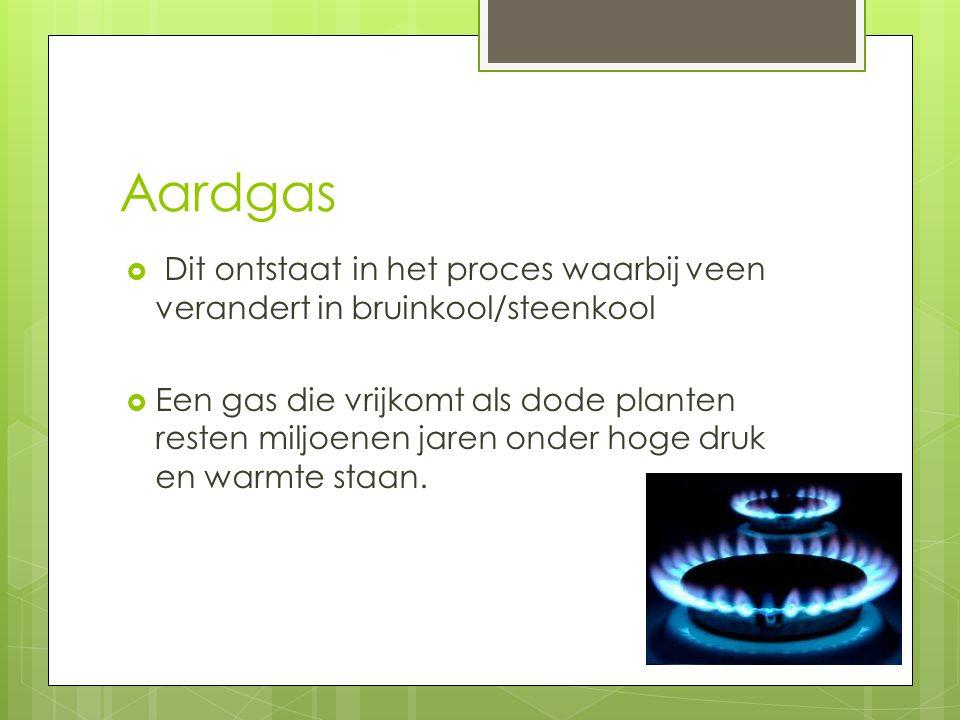 Aardgas Dit ontstaat in het proces waarbij veen verandert in bruinkool/steenkool.