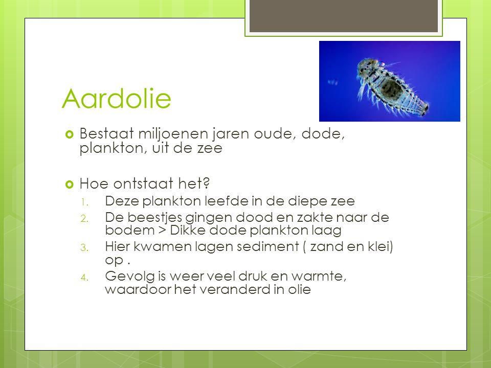 Aardolie Bestaat miljoenen jaren oude, dode, plankton, uit de zee