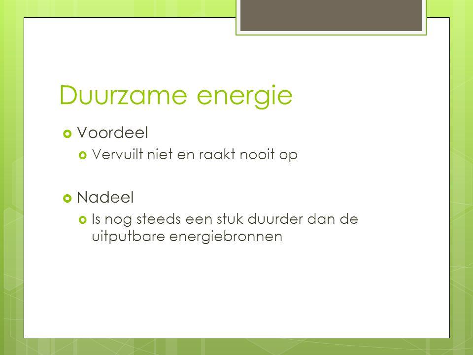 Duurzame energie Voordeel Nadeel Vervuilt niet en raakt nooit op