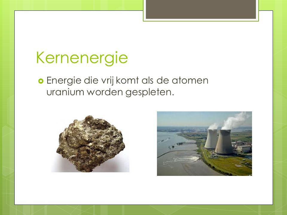 Kernenergie Energie die vrij komt als de atomen uranium worden gespleten.