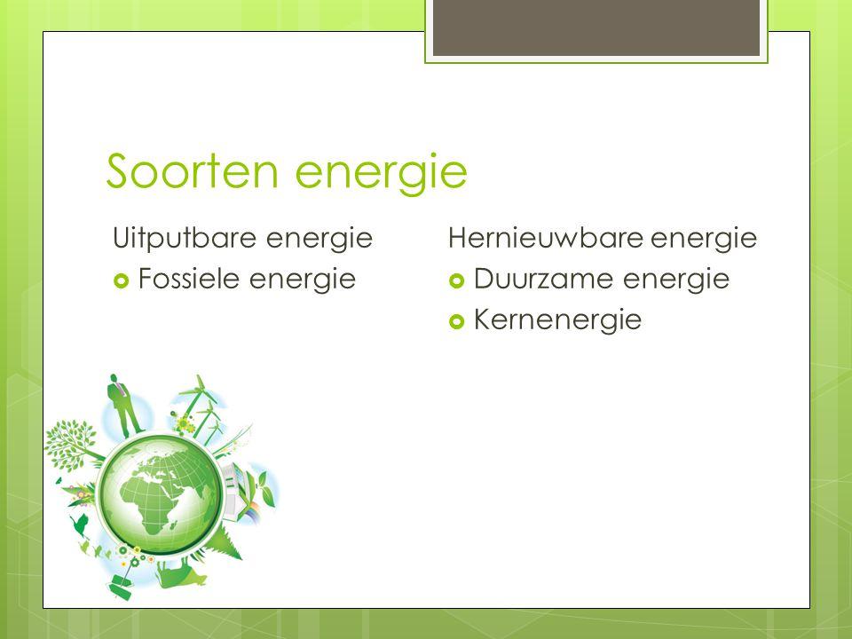 Soorten energie Uitputbare energie Fossiele energie
