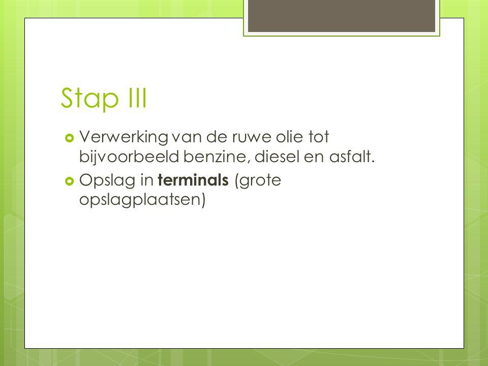 Stap III Verwerking van de ruwe olie tot bijvoorbeeld benzine, diesel en asfalt.
