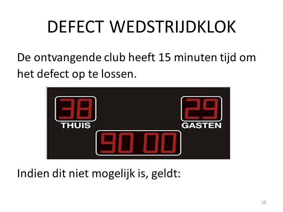 DEFECT WEDSTRIJDKLOK De ontvangende club heeft 15 minuten tijd om het defect op te lossen.