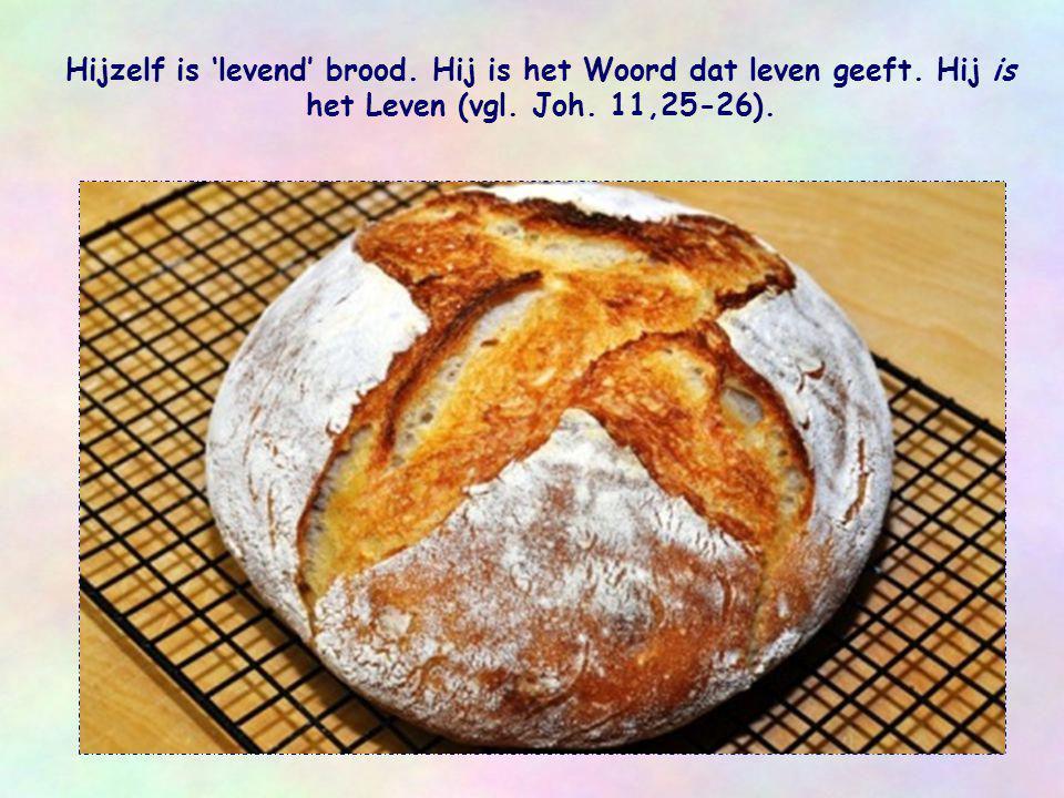 Hijzelf is 'levend' brood. Hij is het Woord dat leven geeft