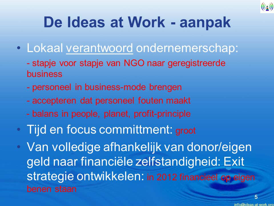De Ideas at Work - aanpak