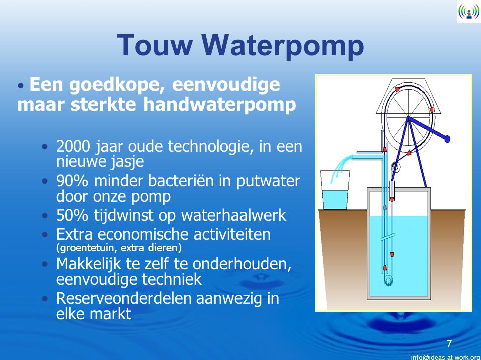 Touw Waterpomp Een goedkope, eenvoudige maar sterkte handwaterpomp