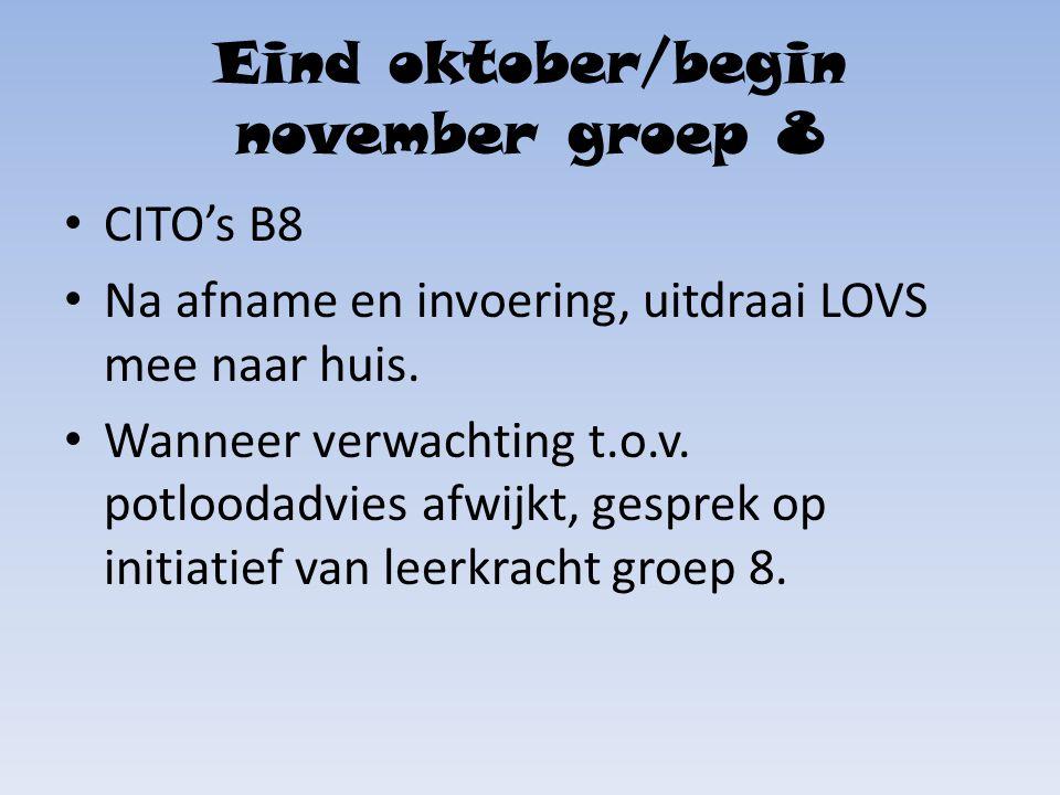 Eind oktober/begin november groep 8