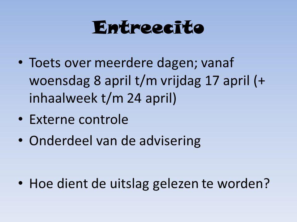 Entreecito Toets over meerdere dagen; vanaf woensdag 8 april t/m vrijdag 17 april (+ inhaalweek t/m 24 april)