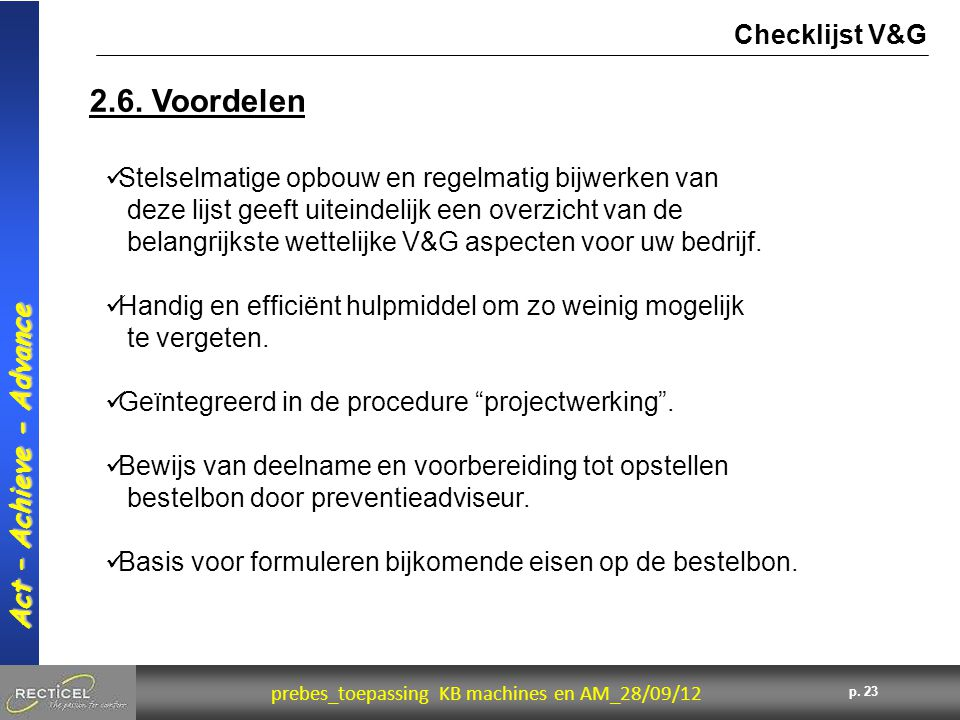 2.6. Voordelen Checklijst V&G