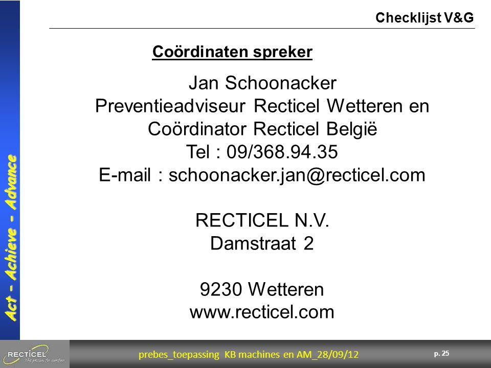 Preventieadviseur Recticel Wetteren en Coördinator Recticel België