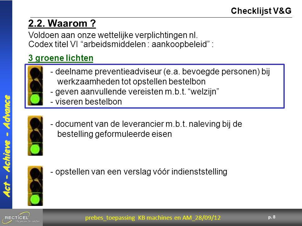 Checklijst V&G 2.2. Waarom Voldoen aan onze wettelijke verplichtingen nl. Codex titel VI arbeidsmiddelen : aankoopbeleid :