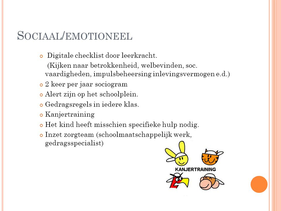 Sociaal/emotioneel Digitale checklist door leerkracht.