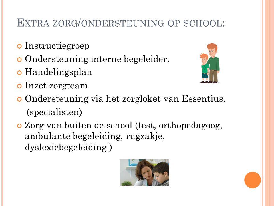 Extra zorg/ondersteuning op school: