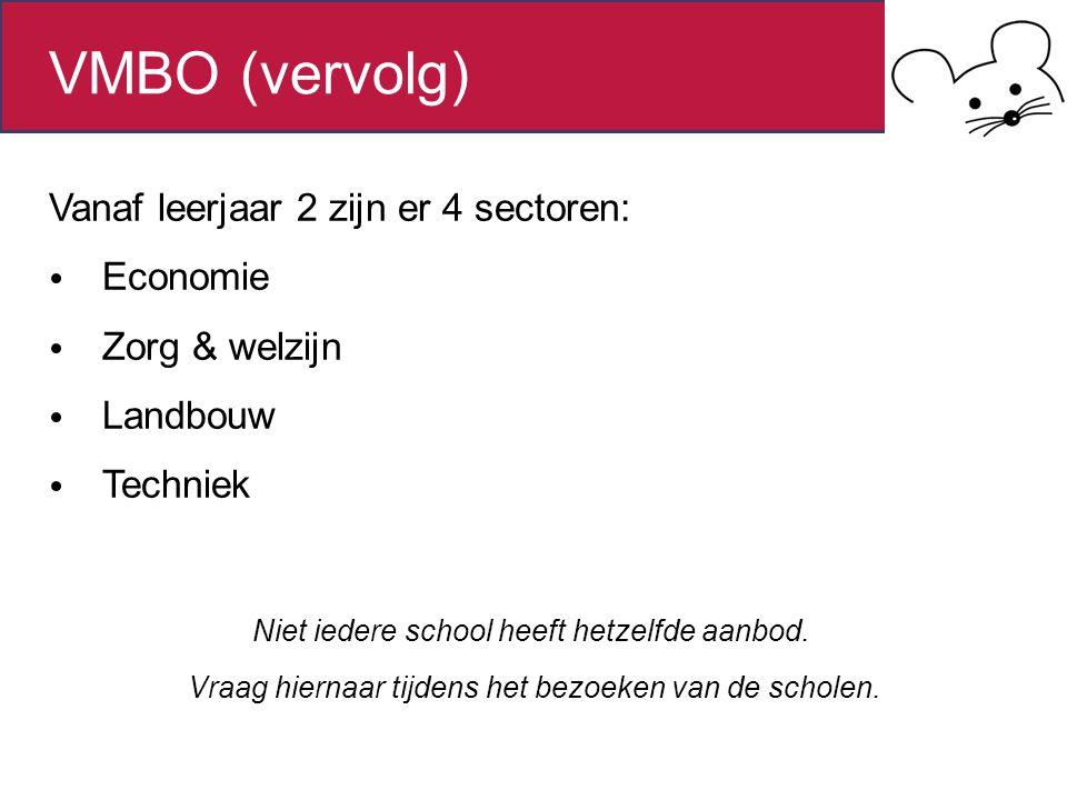 VMBO (vervolg) Niet iedere school heeft hetzelfde aanbod.