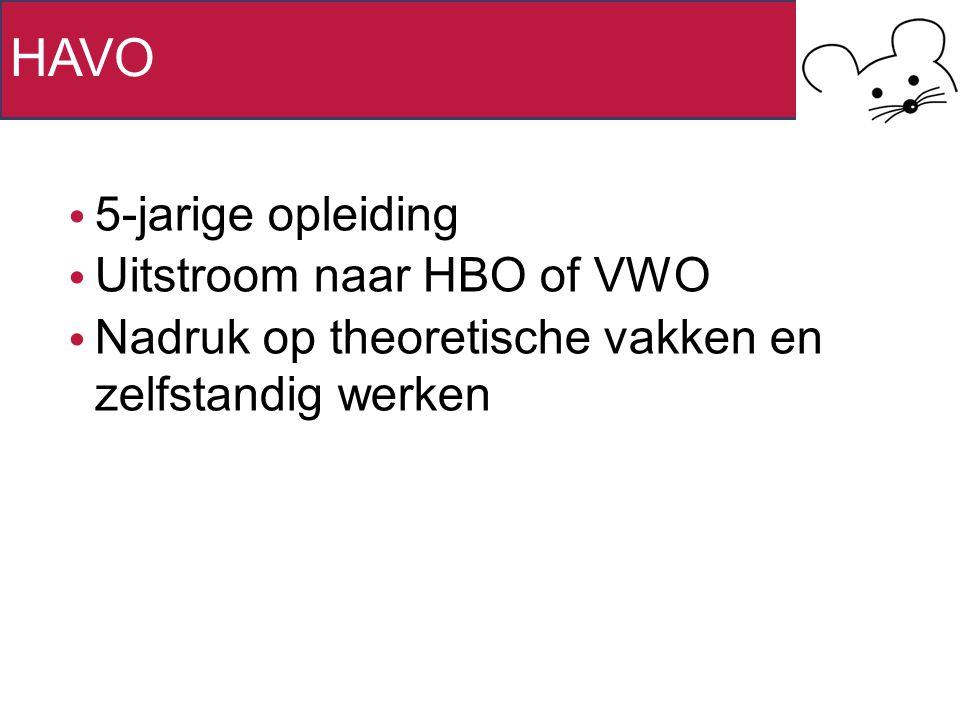 HAVO 5-jarige opleiding Uitstroom naar HBO of VWO