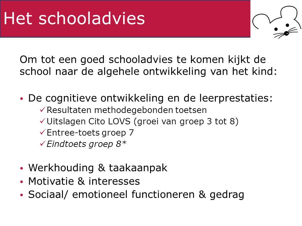 Het schooladvies Om tot een goed schooladvies te komen kijkt de school naar de algehele ontwikkeling van het kind: