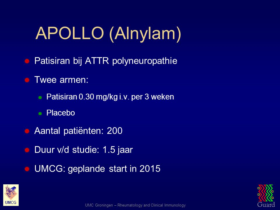 APOLLO (Alnylam) Patisiran bij ATTR polyneuropathie Twee armen: