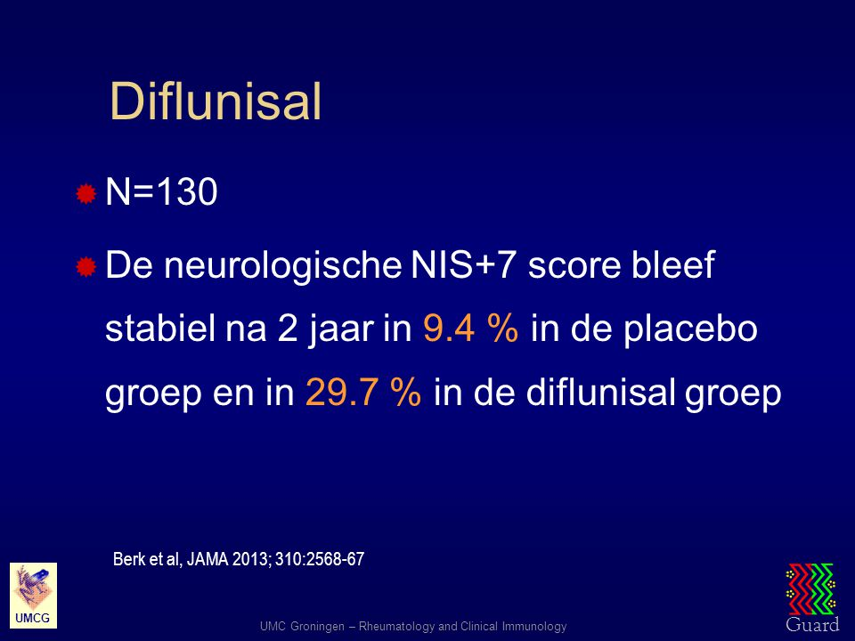 Diflunisal N=130. De neurologische NIS+7 score bleef stabiel na 2 jaar in 9.4 % in de placebo groep en in 29.7 % in de diflunisal groep.
