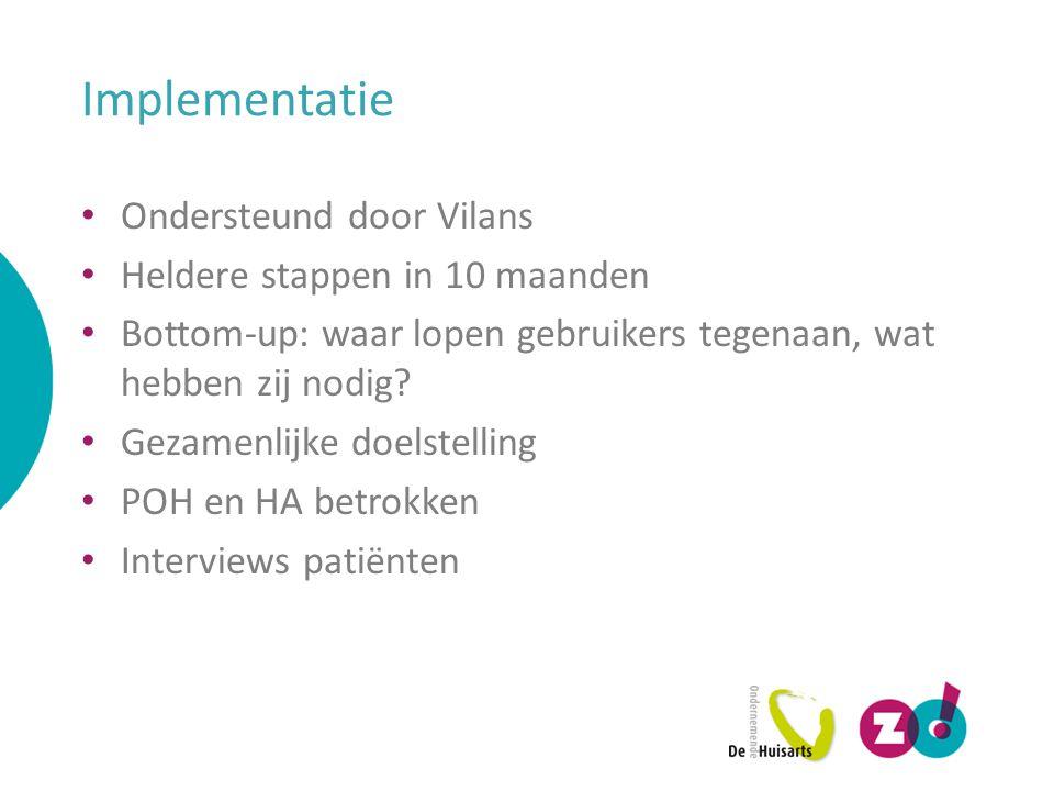 Implementatie Ondersteund door Vilans Heldere stappen in 10 maanden