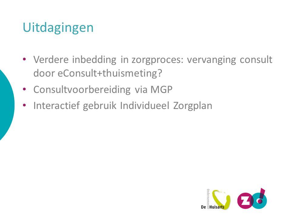 Uitdagingen Verdere inbedding in zorgproces: vervanging consult door eConsult+thuismeting Consultvoorbereiding via MGP.