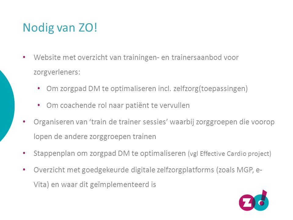Nodig van ZO! Website met overzicht van trainingen- en trainersaanbod voor zorgverleners:
