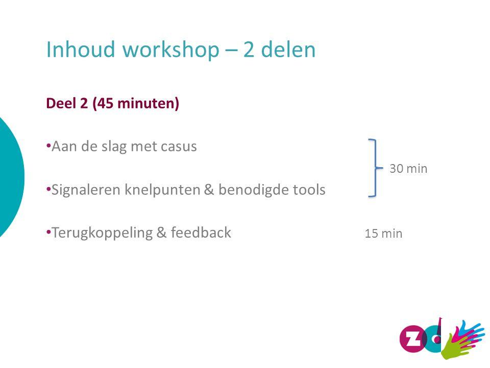 Inhoud workshop – 2 delen