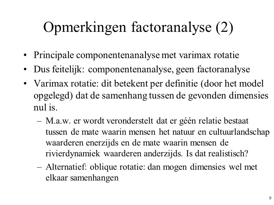 Opmerkingen factoranalyse (2)