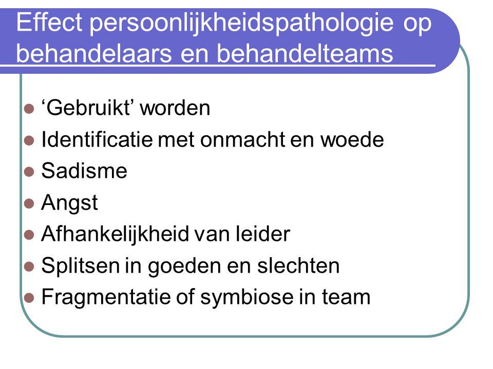 Effect persoonlijkheidspathologie op behandelaars en behandelteams