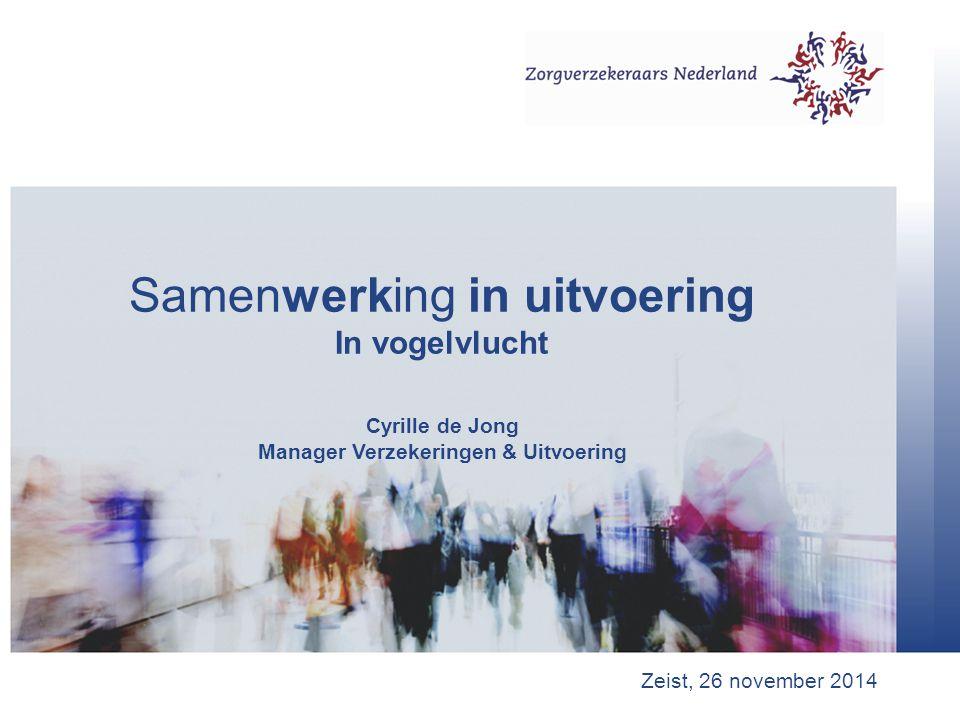 Samenwerking in uitvoering In vogelvlucht Cyrille de Jong Manager Verzekeringen & Uitvoering