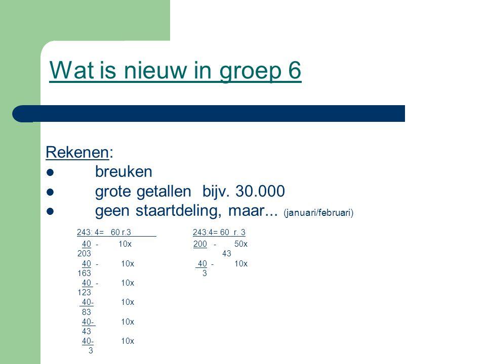 Wat is nieuw in groep 6 Rekenen: breuken grote getallen bijv. 30.000