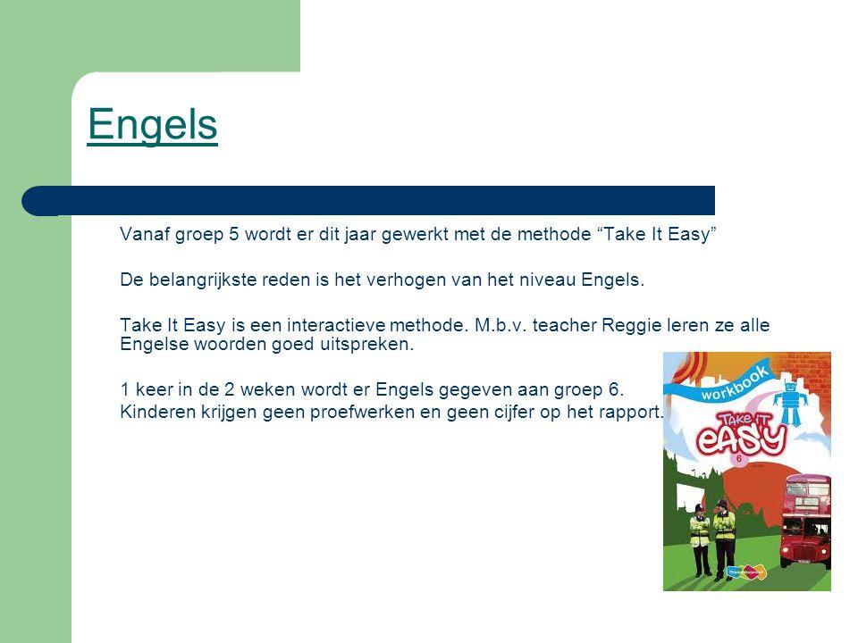 Engels Vanaf groep 5 wordt er dit jaar gewerkt met de methode Take It Easy De belangrijkste reden is het verhogen van het niveau Engels.