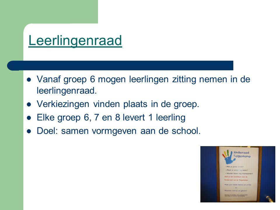 Leerlingenraad Vanaf groep 6 mogen leerlingen zitting nemen in de leerlingenraad. Verkiezingen vinden plaats in de groep.