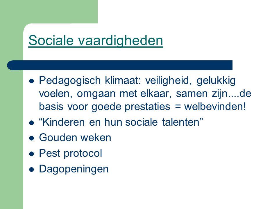 Sociale vaardigheden Pedagogisch klimaat: veiligheid, gelukkig voelen, omgaan met elkaar, samen zijn....de basis voor goede prestaties = welbevinden!