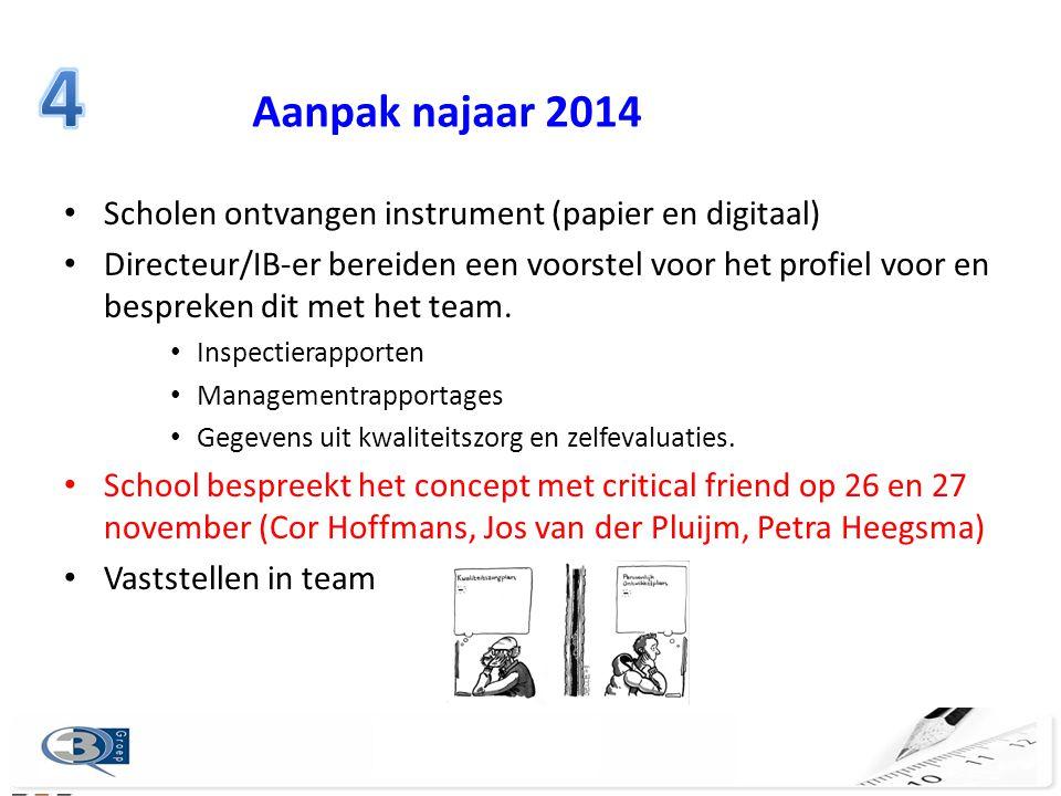 4 Aanpak najaar 2014 Scholen ontvangen instrument (papier en digitaal)