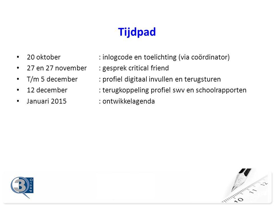 Tijdpad 20 oktober : inlogcode en toelichting (via coördinator)