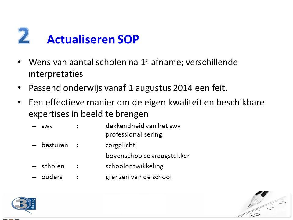 2 Actualiseren SOP Wens van aantal scholen na 1e afname; verschillende interpretaties. Passend onderwijs vanaf 1 augustus 2014 een feit.