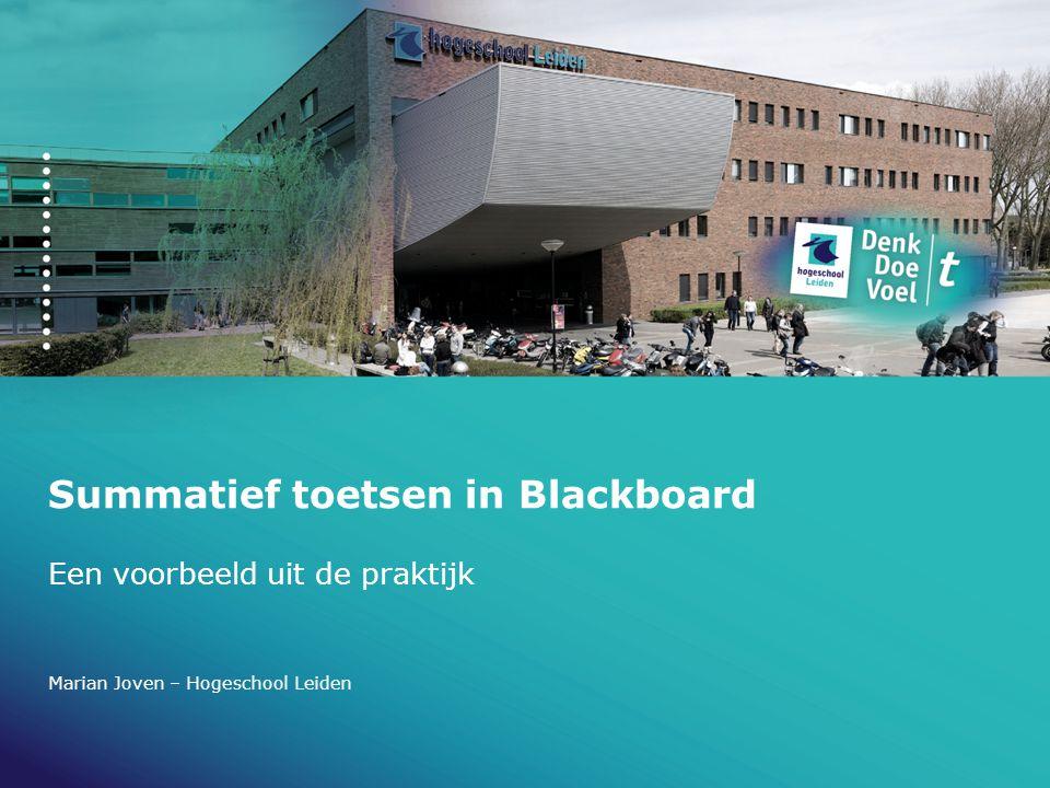 Summatief toetsen in Blackboard