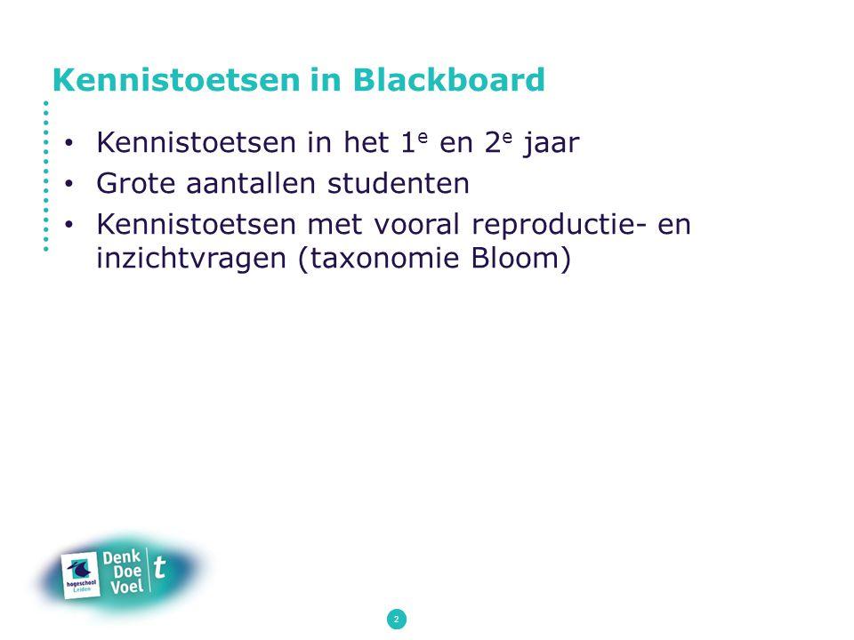 Kennistoetsen in Blackboard