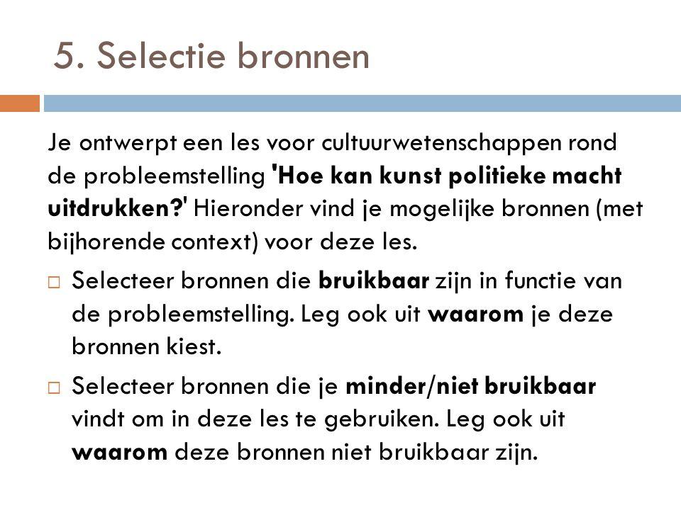5. Selectie bronnen