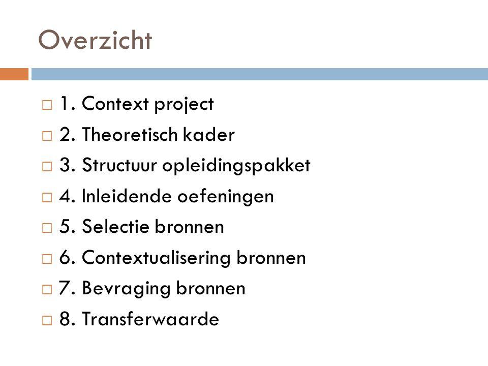 Overzicht 1. Context project 2. Theoretisch kader