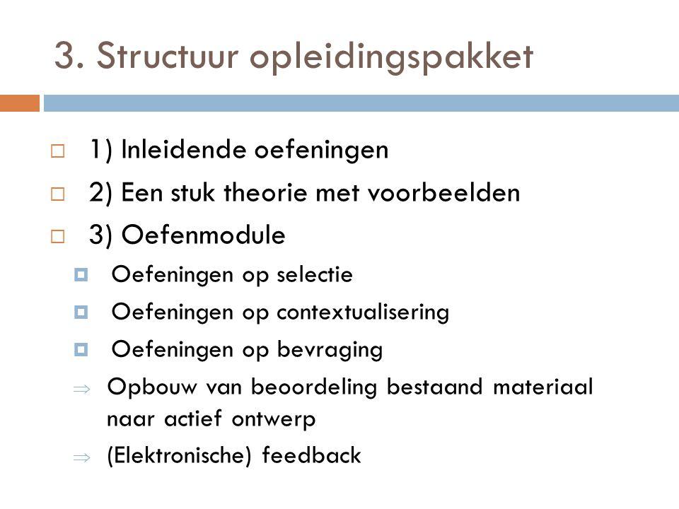 3. Structuur opleidingspakket