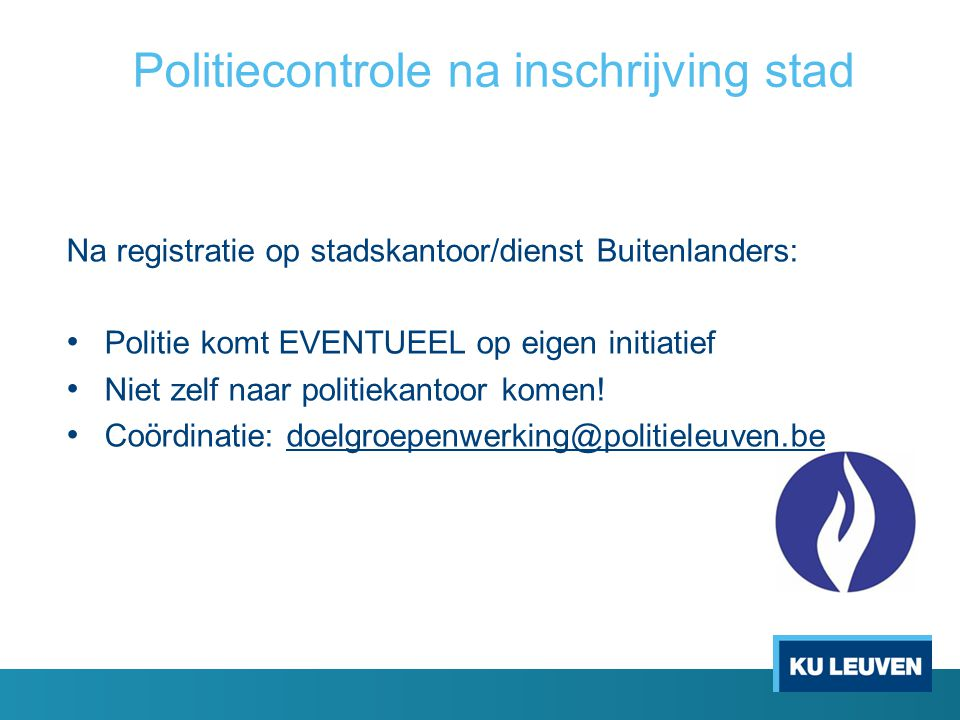 Politiecontrole na inschrijving stad