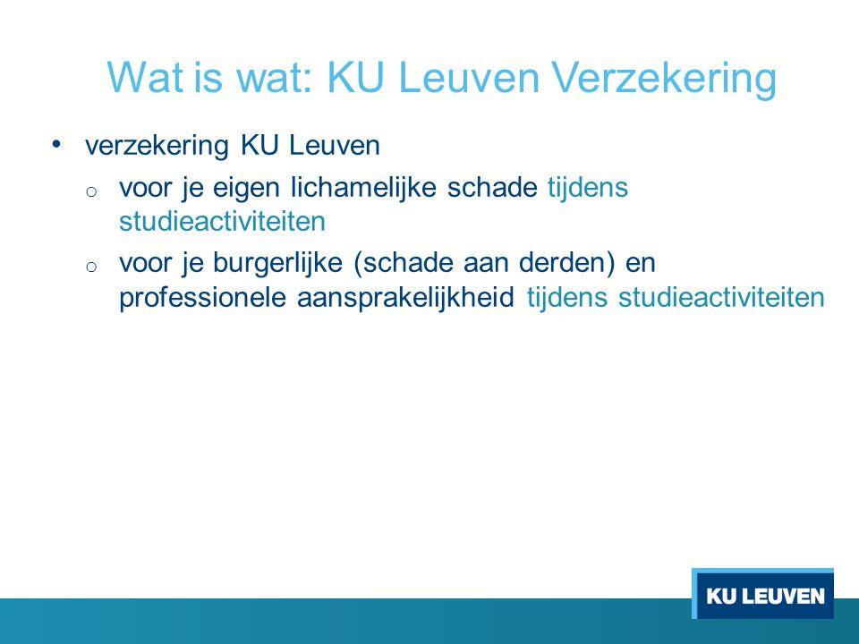 Wat is wat: KU Leuven Verzekering