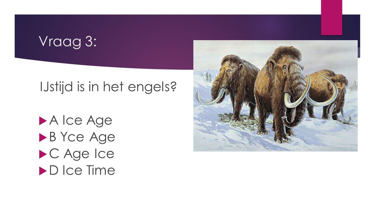 Vraag 3: A Ice Age B Yce Age C Age Ice D Ice Time
