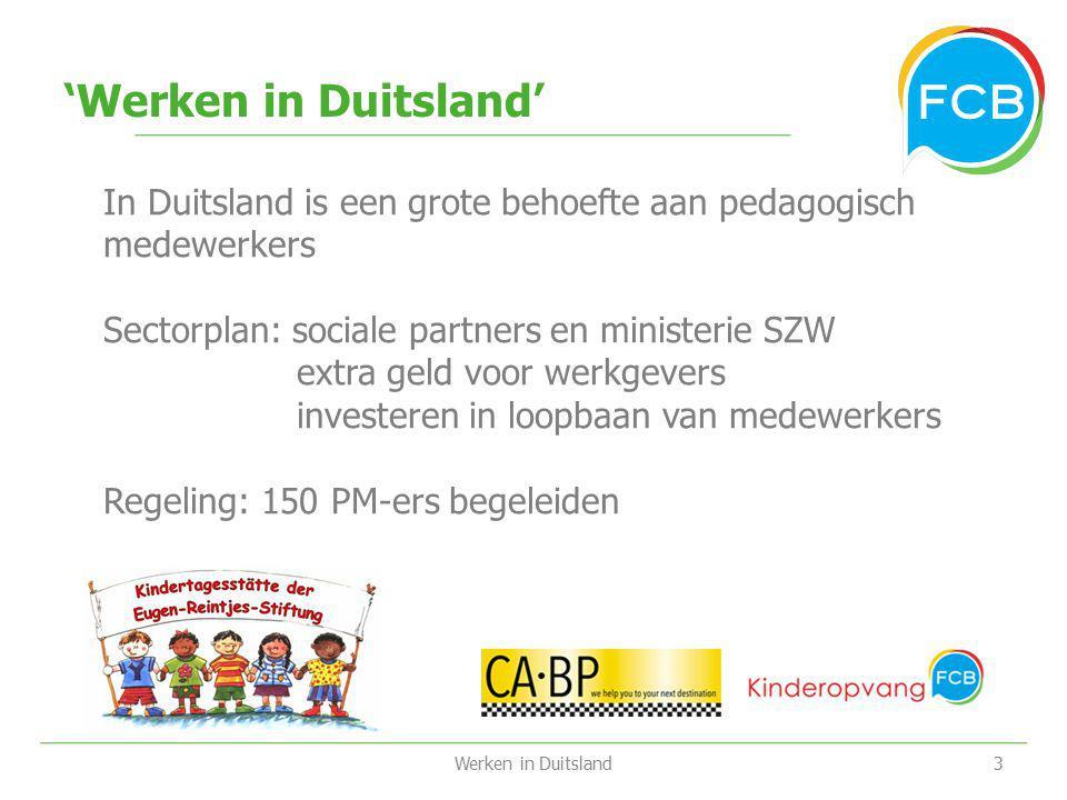 'Werken in Duitsland' In Duitsland is een grote behoefte aan pedagogisch medewerkers. Sectorplan: sociale partners en ministerie SZW.