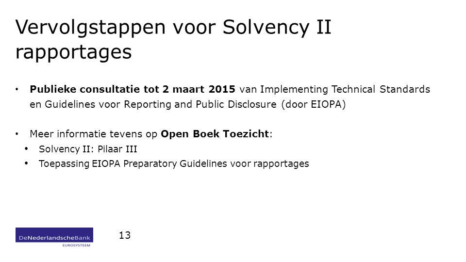 Vervolgstappen voor Solvency II rapportages