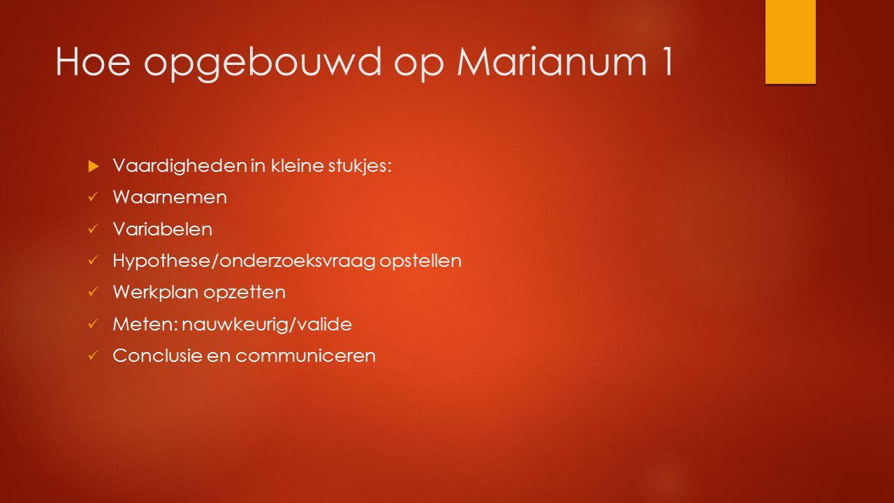 Hoe opgebouwd op Marianum 1