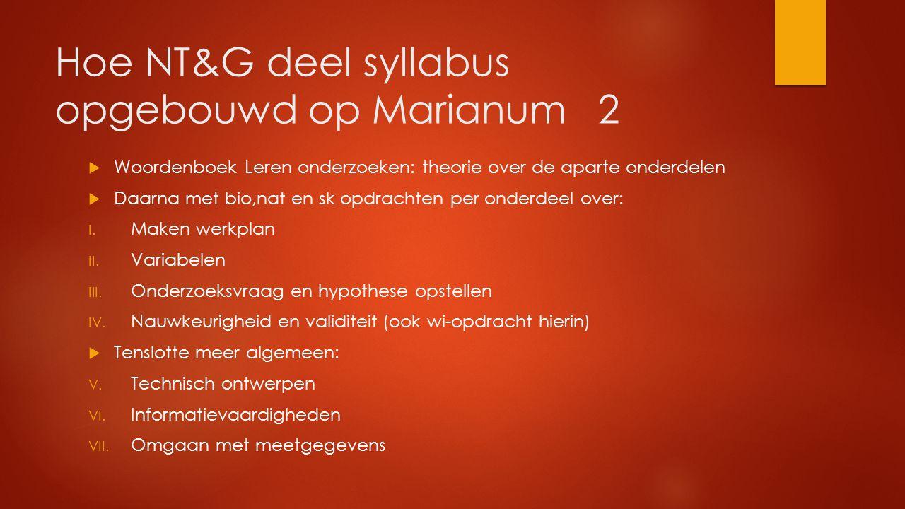 Hoe NT&G deel syllabus opgebouwd op Marianum 2