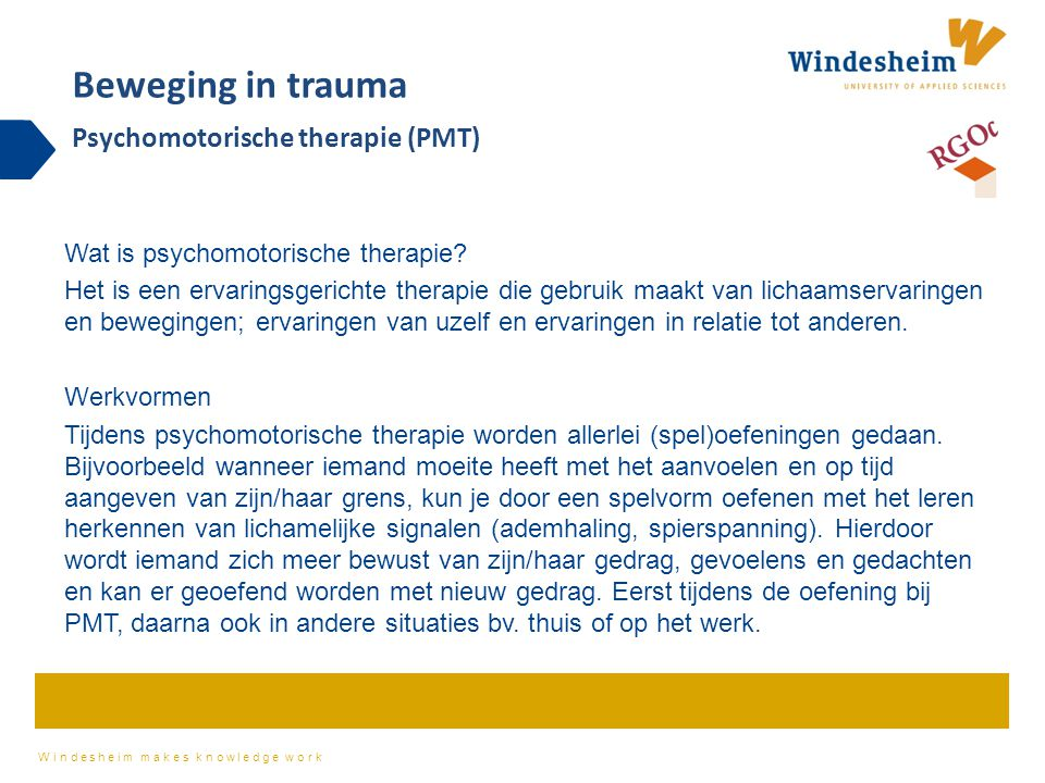 Beweging in trauma Psychomotorische therapie (PMT)