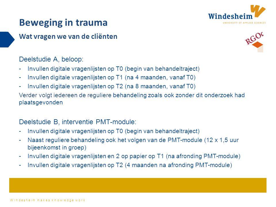 Beweging in trauma Wat vragen we van de cliënten Deelstudie A, beloop: